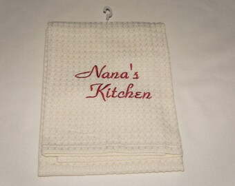 Nana's Kitchen Towel, Waffle Weave or Linen, Embroidered