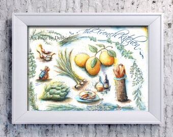 Kitchen Wall Art, French Kitchen, Paris, French Country Kitchen, Recipe Print Provence, Blue Yellow Kitchen Decor, French Mothers Day Gift