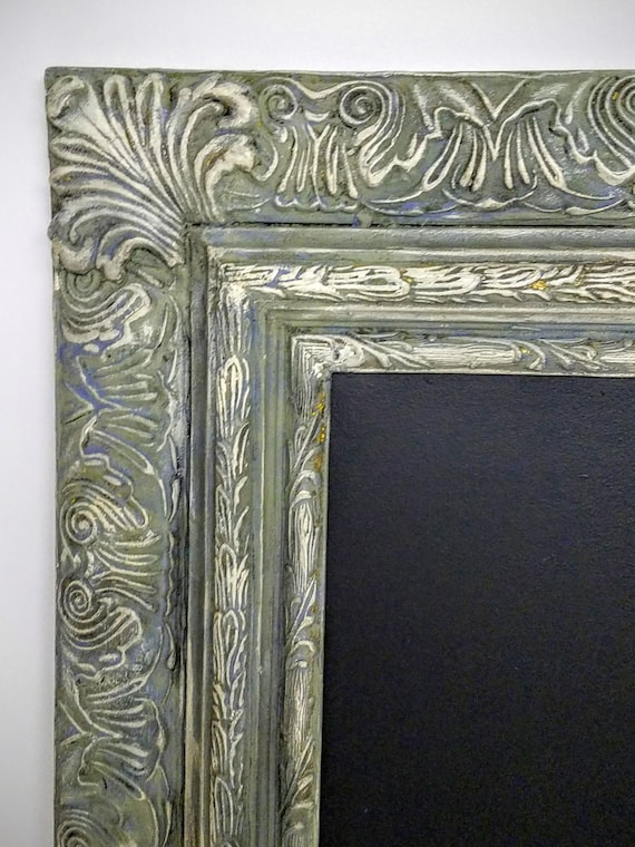 Extra Large Chalkboard Ornate Wood Frame Custom - Chic Wedding Frame - French European Design - Large Framed Hand Painted Aged Distressed