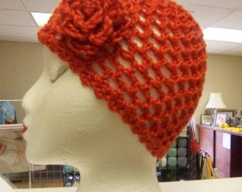 crochet hat gold cloche  orange cloche