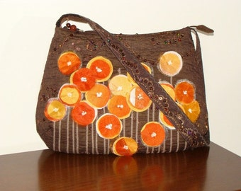 Shoulder bag, sequined fabric, handmade, collectible