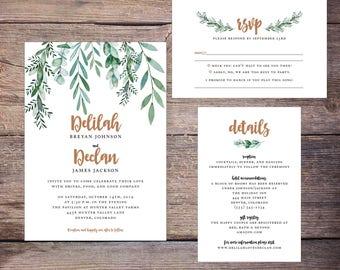 Greenery Wedding Invitation, Printable Wedding Invitation Suite, Green Foliage, Invites, DiY Printable Option, Print at Home - Delilah