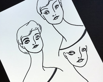 Women - Original Minimalist Drawing by Amanda Laurel Atkins - free shipping