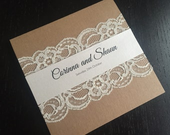 Square Kraft Lace Wedding Invitation