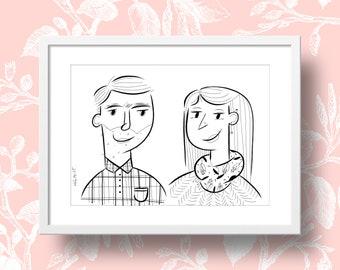 Custom ink portrait illustration - Duo