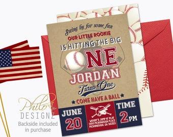 Baseball Invitation, Baseball First Birthday Invitation, Baseball Invite, Baseball Birthday Party Invitation,Vintage Baseball Invitation