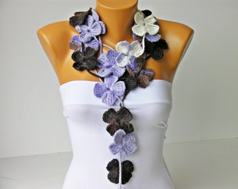 Scarf ,crochet lariat scarf ,flower scarf,crochet lariat
