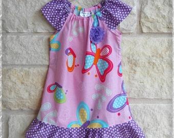 Girls butterfly dress**Spring summer dress**Easter dress**Peasant dress**Ruffle dress**Pink, purple, butterflies**Size 1, 2t, 3t, 4t, 5t 6 7