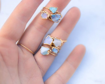 Raw Opal Ring for Women, Gift for Her, Opal Engagement Ring, Bohemian Jewelry, Mermaid Ring, Raw Crystal Ring, Blue Opal Ring