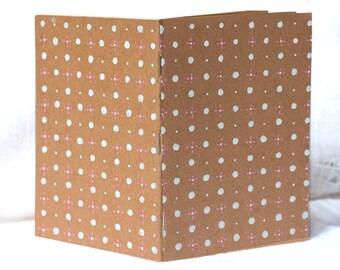 Blank Notebook, Blank Journal, Travel Notebook, Brown Sketchbook, Recipe Book, Paper Notepad, Polka Dot Journal, Pattern Notebook