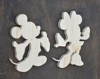 Mickey Mouse & Minnie Mouse Disney Wood Cutout