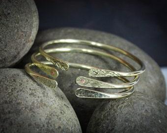 3 Gold Bracelets, Stacking Bracelets, Gold Bracelet Set, Hammered Brass, Hand forged, Brass bracelet cuff, Gold Bangle