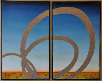Communicative Diptych - Symphony or Separation original oil painting.