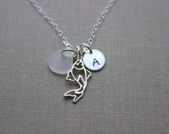 Koi Fish Charm Necklace, Sterling Silver with White Sea Glass, Personalized Initial Charm Necklace, Made to Order Ocean Gift, Japanese Luck