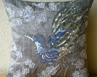 "Luxury Grey Cushion Covers, 16""x16"" Silk Pillow Covers, Square  Sequins & Beaded Bird Design Pillows Cover - Silver Birdy"