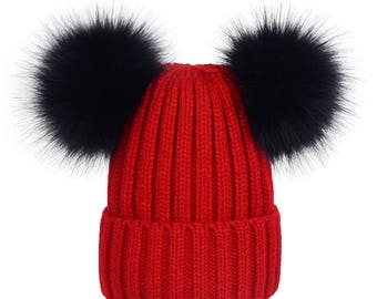 double fur ball hats Custom Children Adult Hats Knit Red Hat with Black Fox  Puffs 92873c66d94