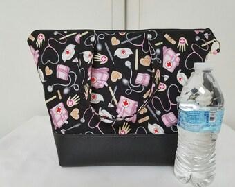 Nurses Insulated Lunch Bag, Vinyl Bottom, Medical Theme, Womens, Lunch Bag for Nurses ,Nylon Lining, Zipper Pocket, Washable Lunch Bag.