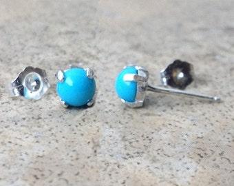 Turquoise stud earrings - Genuine Turquoise 5mm stud earrings in Sterling Silver