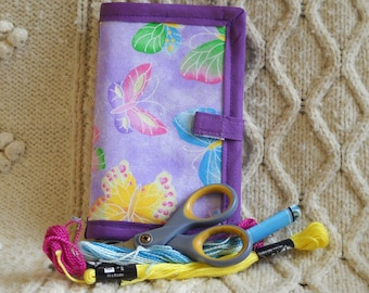 Purple Butterflies Needle Book, Needle Case, Hand Sewing Organizer