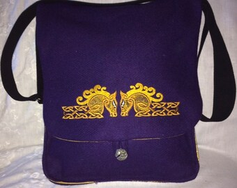 Celtic Style Horesheads Haversack  - wool and silk