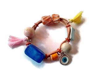 Beaded bracelet, wrap bracelet for girls or woman, leather bracelet for her, Christmas gift for girls stocking stuffers, magnetic clasp
