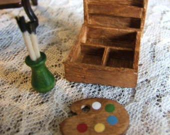 12th Scale Artist Wooden Paint Box Dollhouse Miniature