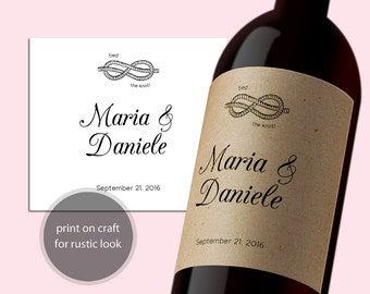 PDF Template 3,5x4 Editable Wine Label INSTANT DOWNLOAD Wedding Wine Bottle Labels calligraphy Printable tied the knot Wine Labels Digital
