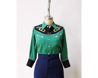 Vintage 1940s - 50s Western Pearl Snap Shirt XS