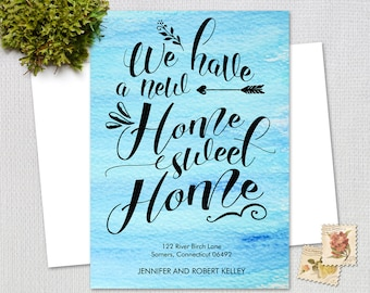 Moving Announcement /  Home Sweet Home / Typography Moving Announcement / Blue Watercolor  / PRINTABLE / 7201