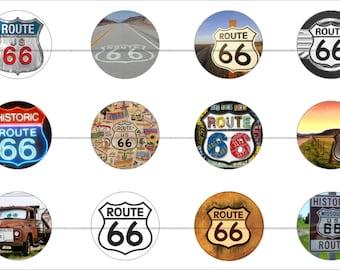 "Route 66 Magnets, Route 66 Pins, Nostalgic Pins, Nostalgic Magnets, Set 1, 1"" Flat, Hollow Backs, Cabochons, 12 ct."