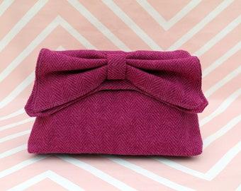 Katharine - Pink herringbone Harris Tweed Clutch Bag - evening purse - bow - formal - handmade