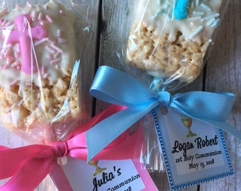 Chocolate Covered Rice Krispy Treats - First Communion Favor - Communion Favor - Baptism Favor - Christening Favor - Reglious