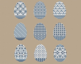 Blue Easter eggs set pdf counted cross stitch pattern easter egg instant download pattern by SVStitch