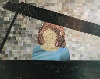 Sarabande - original paper collage - original art - one of a kind
