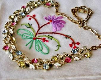 Rhinestone Enamel Floral Mid Century Fruit Salad Flower Choker Necklace 1950s Jewelry