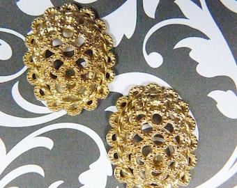 """Vintage """"CHRISTIAN DIOR""""  Gold Filigree Clip Earrings - V-EAR-597 - Christian Dior Gold Clip Earrings - Christian Dior Gold Earrings"""
