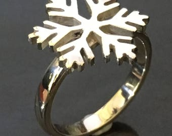 Silver SnowFlake Ring, Winter, Christmas,