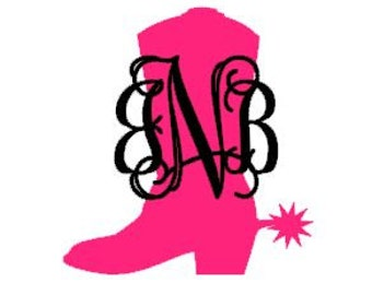 Cowgirl Boot Monogram Decal