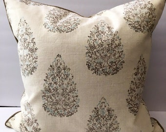 Cream Taupe Decorator Throw Pillow 21 Inch Square with Insert
