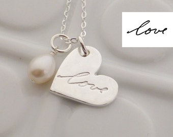 Custom Handwriting Fine Silver Necklace - Memorial - Made to Order - Actual Handwriting - Signature Necklace - Gift for Her - Mom Gift