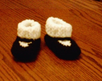 Mary Jane Baby booties w/ attached stocking