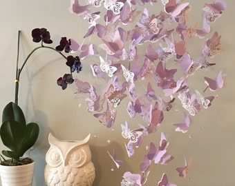 Lavender Butterfly Chandelier Mobile, in purple and white mix, Baby mobile, nursery mobile, baby girl mobile, mobile, butterfly mobile,