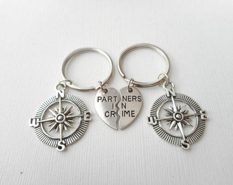 2 Partners in Crime, Compass- Best Friend Keychains/ Birthday Gift, Sister Gift, bff Gift, gift ideas, in crime jewelry, in crime keychain