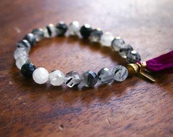 Tassel Bracelet Tourmalinated Quartz Japa Mala Prayer Beads Yoga Jewelry Rosary 21 Bead Wrist Mala Bracelet Sari Silk and Brass Tourmaline