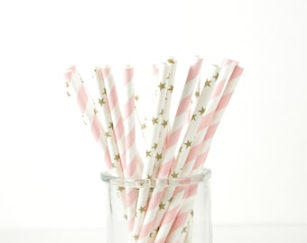 Twinkle Twinkle Little Star Paper Straws - Gold Star Straws - Set of 25