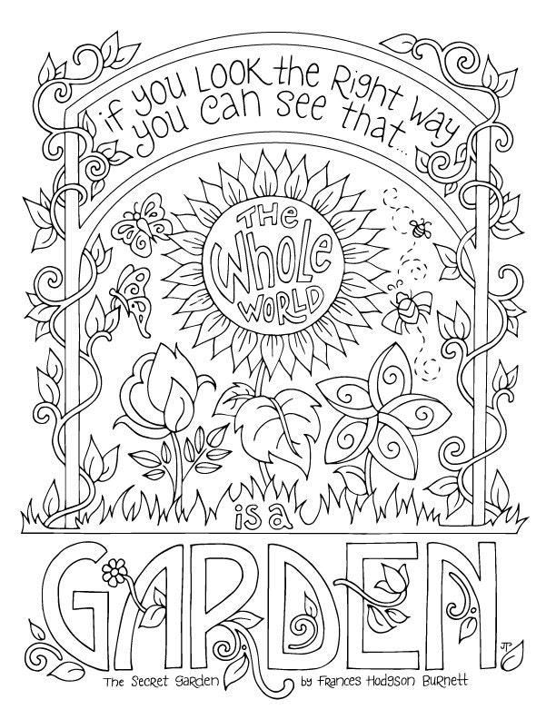 Secret Garden Coloring Page / Frances Hodgson Burnett