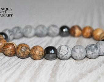 Jasper Calming bracelet Energy bracelet Positive bracelet Men mala bracelet Gym jewelry Strength bracelet Men spiritual bracelet om bracelet