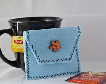 Light Blue Tea Tote, Reusable Tea Pouch, Tea Bag Carrier, Tea Wallet, Felt Envelope, Tea Bag Pouch, Tea Accessory, Mother's Day Gift