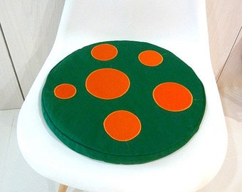 Mushroom Floor Cushion, Seat Cushion, Mushroom Cushion, Round Cushion, Flat cushion, Chair Cushion, GREEN cushion, Orange Dots