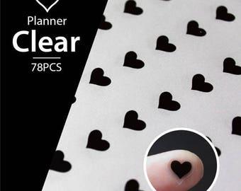 Clear Waterproof Planner Sticker. heart sticker, love sticker, transparent sticker, clear sticker (L140)